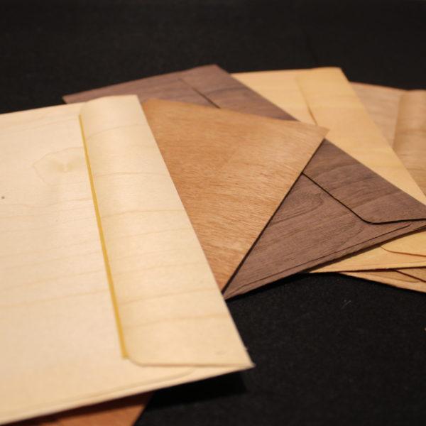 enveloppes feuille de bois